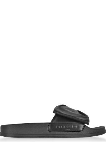 Robert Clergerie Wendy Black Leather Slide Sandals W/black Sole