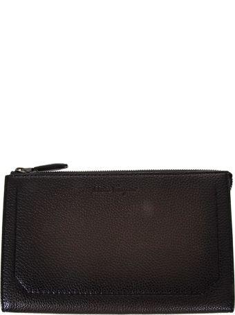 Salvatore Ferragamo Sepia Leather Clutch With Logo