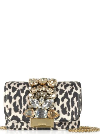 Gedebe Mini Cliky White Leopard Print Leather  Clutch