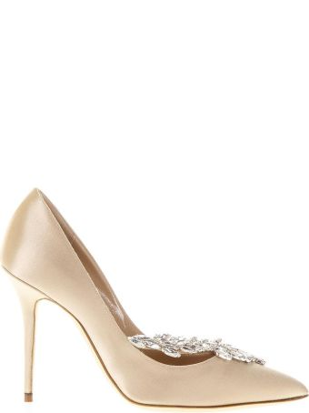 Manolo Blahnik Nude Nadira Jewel Pumps