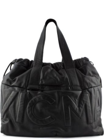 Vic Matié Shopping Bag In Soft Black Leather.