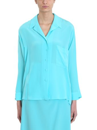 Maison Flaneur Blue Light Silk Shirt