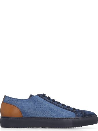 Doucal's Leather And Denim Sneakers