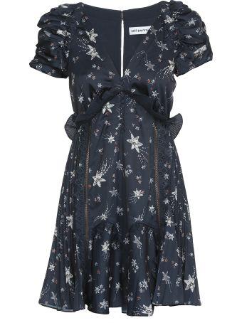 self-portrait Star Satin Printed Dress