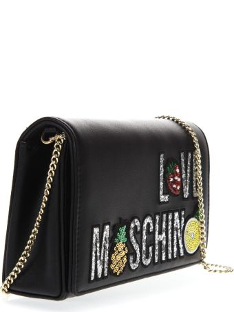 Love Moschino Black Faux Leather Shoulder Bag With Logo