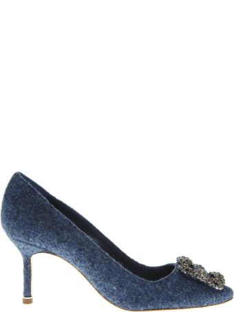 Manolo Blahnik Lanza Blue Leather Pumps