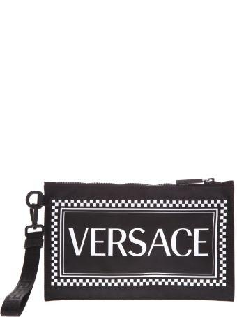Versace Black Nylon Clutch With Versace Logo