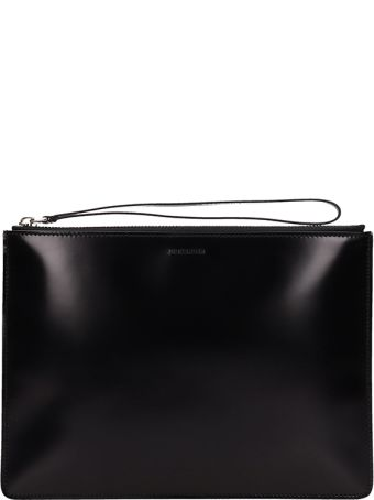 Jil Sander Black Leather Logo Clutch Bag