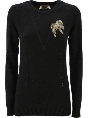 N.21 Black Cashmere Knitted Embellished Jumper.