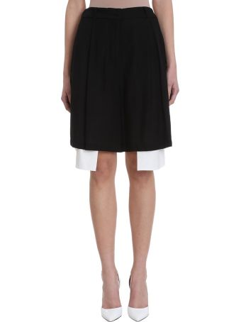 Maison Flaneur Asymmetric White  Black Cotton Skirt Short