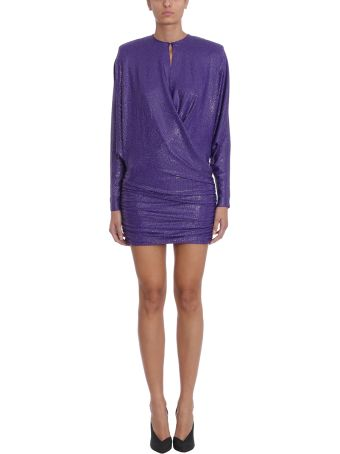Alexandre Vauthier Purple Silk Crystalised Short Dress