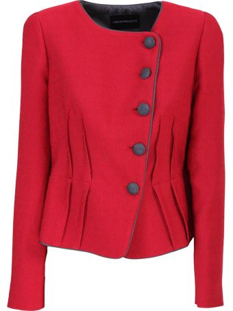 Emporio Armani red mulberry silk blend textured fitted jacket features a round neck, an off-centre front button fastening, a contrast piped trim, an a