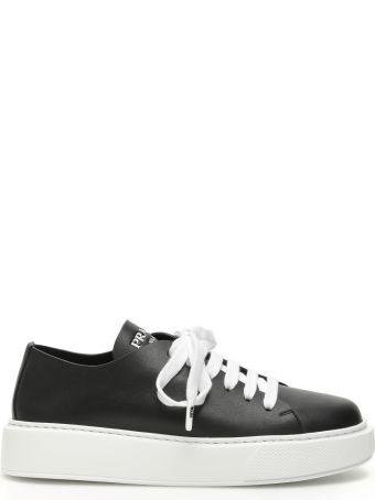 Prada Raw-cut Leather Sneakers