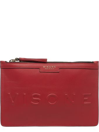 Visone Coral Red Kim Leather Clutch