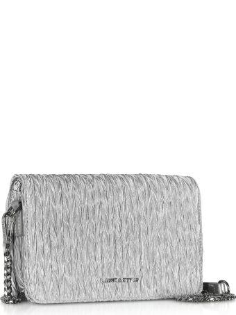 Lancaster Paris Silver Quilted Satin Shoulder Bag