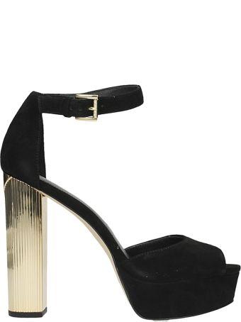 Michael Kors Paloma Sandals In Black Suede