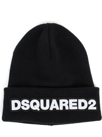 Dsquared2 Knit Hat Wool W/patch