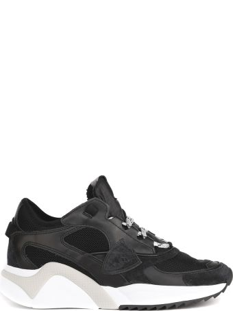 Philippe Model Mondial Black Leather And Mesh Sneakers