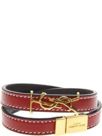 Saint Laurent Opyum Red Leather Double Wrap Bracelet
