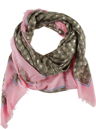 Gucci Double G And Bee Motif Print Scarf