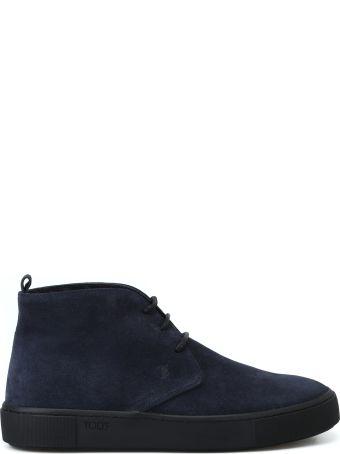 Tod's Dark Blue Suede Elegant Desert Boots