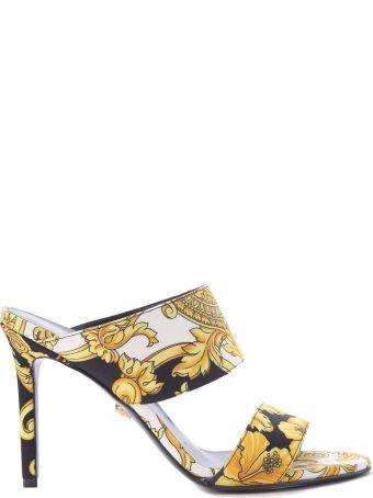 Versace Gold Hibuscus-print Cotton-canvas Mules
