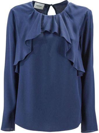 Dondup Blue Blend Silk Blouse.