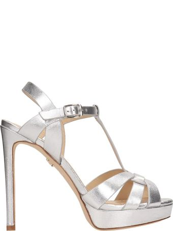 Lola Cruz Silver Leather Sandals