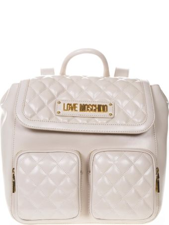 Love Moschino Quilted Ivory Faux Leather Backpack