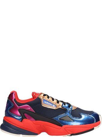 Adidas Falcon W Blue Orange Fabric Sneakers