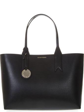 Emporio Armani Black Shopper In Faux Leather With Logo Charm