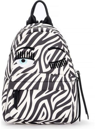 Chiara Ferragni Flirting Vegan Zebra Leather Backpack