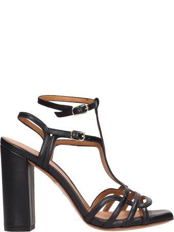 Chie Mihara Black Leather Edel Sandals