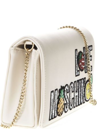 Love Moschino Ivory Faux Leather Shoulder Bag With Logo