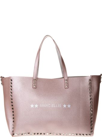 Marc Ellis Pearly Pink Leather Tote With Studs