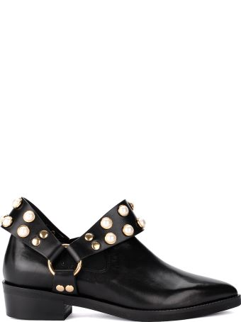Coliac Griet Black Leather Ankle Boot With Pearls