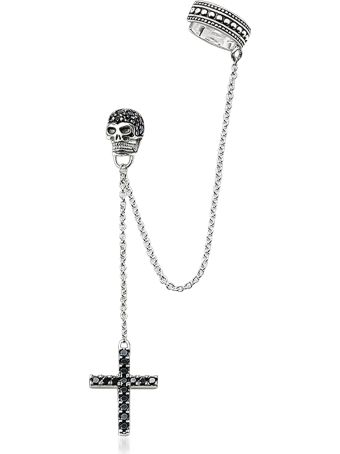 Thomas Sabo Blackened 925 Sterling Silver Ear Cuff Cross And Skull W/black Zirconia
