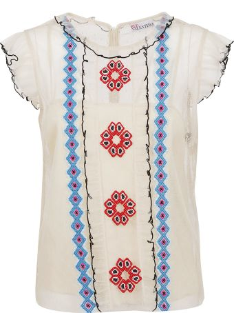 RED Valentino Pattern Embroidered Top