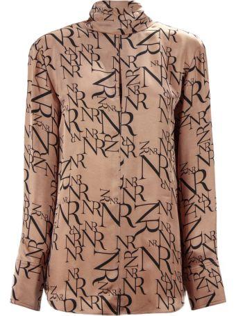 Nina Ricci Dusty Pink Fabric All-over Logo Print Shirt.
