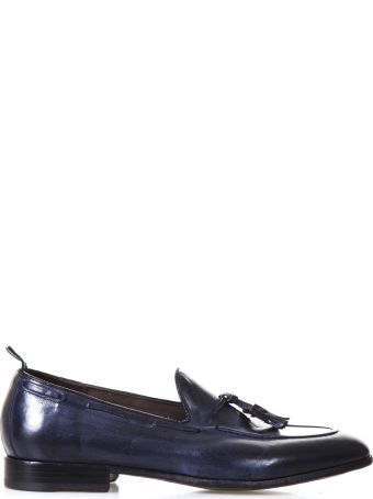 Green George Navy Leather Loafers With Tassels