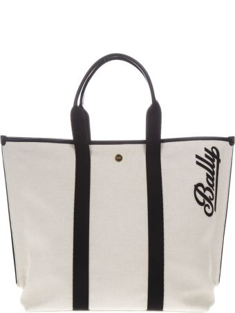 Bally White Medium Canvas & Leather Tote Bag