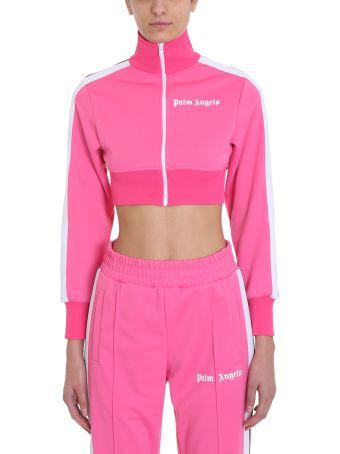 Palm Angels Cropped Track Pink Sweatshirt