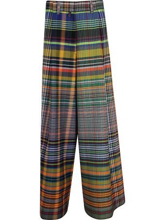 Dries Van Noten Checked Print Long Wide Trousers