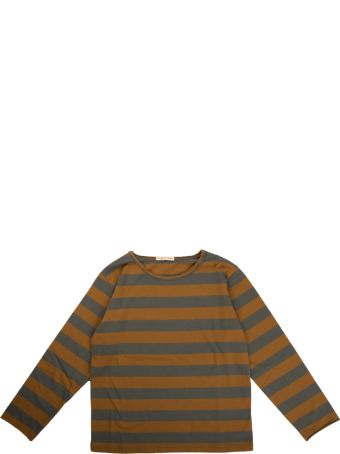Babe & Tess Mustard / Gray Striped Long Sleeve T Shirt