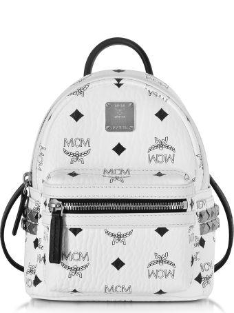 MCM Stark Bebe Boo White Backpack