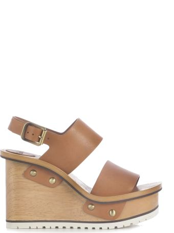 Chloé Wool Wedge Heel With Ankle Band/zeppa