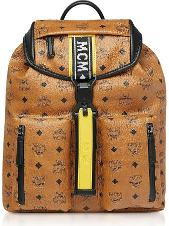 MCM Cognac Visetos Raymonde Two Pocket Small Backpack