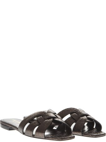 Saint Laurent Tribute Gunmetal Glossy Leather Sandals