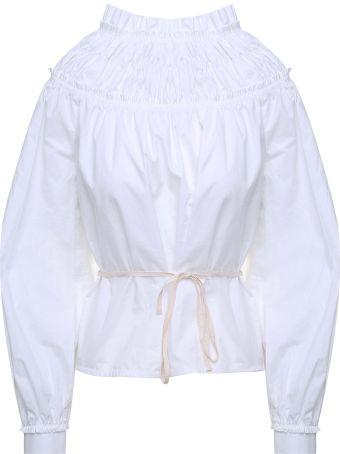 Proenza Schouler High-neck Cotton-poplin Shirred Blouse