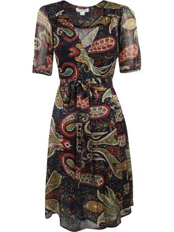 Velvet Paisley Print Mid-length Dress